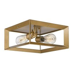 Emliviar 2-Light Flush Mount Light, 12″ Ceiling Light Fixture, Antique Brass Finish, 3040-2