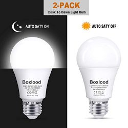 Dusk to Dawn A19 LED Light Bulb, Built in Light Sensor, Plug and Play, 6000K Cool White, 60W Hal ...