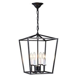 ANJIADENGSHI Lantern Pendant Light Industrial Vintage Lantern Iron Cage Hanging with 4 E12 Bulbs ...