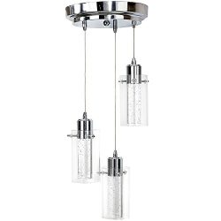 Polished Bubble Glass Triple Hanging Pendant Light Fixture | Glass Surrounded LED Lighting Fixtu ...