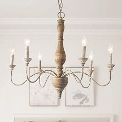 LNC Handmade Wood Chandelier, 6-Light Rust Arms French Country Chandelier for Dining Room, Bedro ...