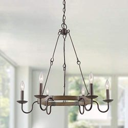 LOG BARN Rustic French Country Chandelier, 6 Lights Wagon Wheel Hanging Island Lighting for Kitc ...