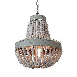 Anmytek Wood Beaded Chandelier Pendant Light Gray White Finishing Kitchen Island Lighting Retro  ...