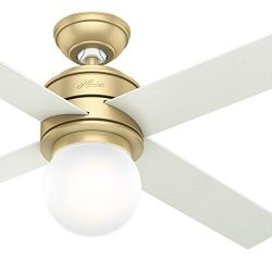 Hunter Fan 52 in. Modern Brass Ceiling Fan with LED Globe Light Kit – Wall Control Include ...