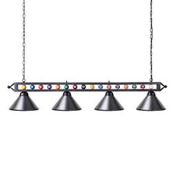 Pool Table Light, Wellmet Billiard Light with 4 Matte Metal Shade, 70 inch Black DIY Pool Table  ...