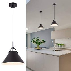 Modern Pendent Light Fixture with Leather and Iron Finish, 1-Light Hanging Light for Kitchen Isl ...