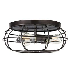 Cartaro 3 Light Industrial Vintage Cage Ceiling Light | Dark Bronze Flush Mount Light Fixture wi ...