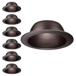 TORCHSTAR 6 Pack 6-Inch Recessed Can Light Trim, Oil Rubbed Bronze Metal Step Baffle Trim, for P ...