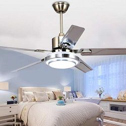 LUOLAX Stainless Steel 5 Blades Remote Control Ceiling Fan Light with Three-Color Changes LED Ch ...