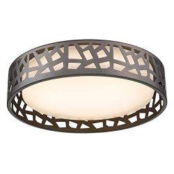 Flush Mount Ceiling Light, VICNIE 12 inch 15W LED Dimmable Lighting Fixture, 3000K Warm White, O ...