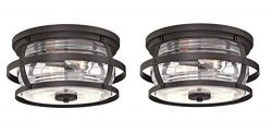 Westinghouse Lighting Weatherby Two-Light Flush-Mount, Weathered Bronze Finish with Clear Glass  ...