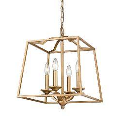 Emliviar 4-Light Modern Pendant Chandelier Lighting, Gold Lantern Hanging Light, 2086P-4 AG