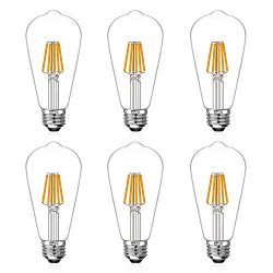 LED Edison Light Bulbs 60W Equivalent Halogen Replacement Dimmable E26 Base Vintage Filament Pen ...