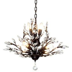 Ganeed Vintage Crystal Branch Chandeliers Black Ceiling Pendant Light Flush Mounted Fixture with ...