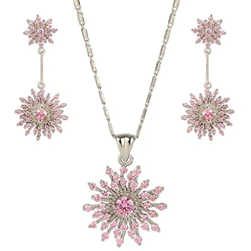 EVER FAITH Silver-Tone Full Zircon Art Deco Snowflake Pendent Necklace Earrings Set Pink