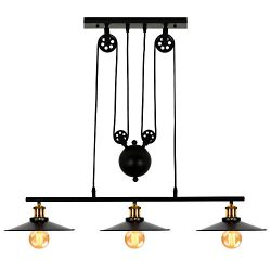 T&A 3-Light Kitchen Island Pulley Pendant Light with Black Metal Finish,Adjustable Industria ...