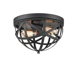 CLAXY Industrial Flush Mount Ceiling Light Black Dome Cage Light Fixture