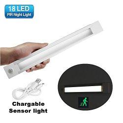 GLIME Closet Light, Motion Sensor Cabinet Light Auto LED Light Strip 18LED Wireless Stick-on Any ...