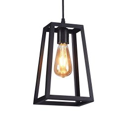 Wideskall 6″ Industrial Metal Iron Frame Square Lantern Mini Hanging Pendant Light 1-Bulb  ...