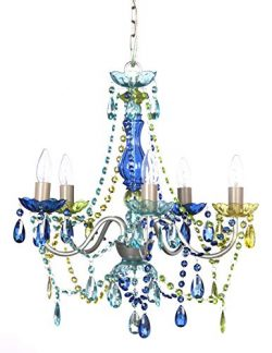 The Original Gypsy Color 5 Light Medium Blue Green Chandelier H21″ W19″, Silver Meta ...