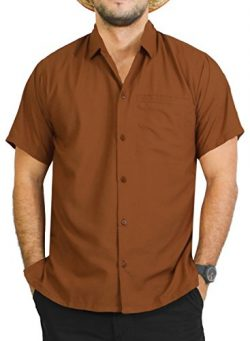 LA LEELA Men's Relaxed Hawaiian Shirt Big and Tall Button Up Shirt XL Brown_W880