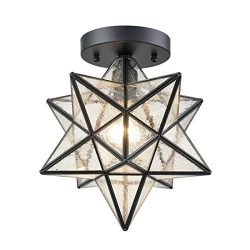 AXILAND Industrial Moravian Star Ceiling Light with Seeded Glass Shade 12 inch