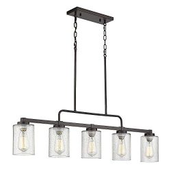 5-Light Kitchen Island Lighting, Beionxii 42″ Large Farmhouse Linear Lighting Chandelier f ...