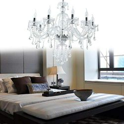 Ridgeyard Clear 10 Lights Modern Luxurious K9 Crystal Chandelier Candle Pendant Lamp Ceiling Liv ...