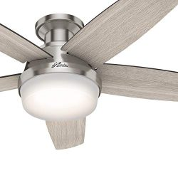 Hunter Fan 48 inch Low Profile Brushed Nickel Ceiling Fan with LED Light Kit and Remote Control  ...