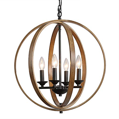 LOG BARN Farmhouse Chandelier, 4-Light Dining Room Lighting Fixtures Hanging, Faux-Wood Finish