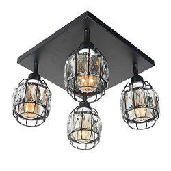 Baiwaiz Modern Industrial Crystal Ceiling Light, Black Metal Wire Cage Semi Flush Mount Lighting ...
