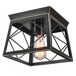 HMVPL Close to Ceiling Light,Farmhouse Flush Mount Industrial Pendant Lighting Fixtures Mini Cei ...