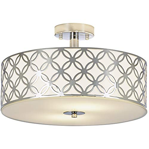 SOTTAE Luxurious Living Room Bedroom Ceiling lamp Creamy White Glass Diffuser Chrome Finish Flus ...