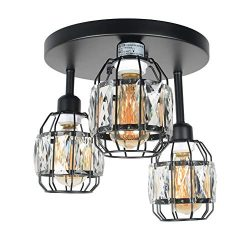 Baiwaiz Crystal Cage Semi Flush Mount Light, Black Metal Round Industrial Ceiling Lighting Moder ...