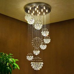 SEFINN FOUR HL-011 Flush Mount Light Sphere Raindrop Crystal Chandelier, Multi-Balls