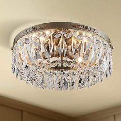 Antique Silver French Empire Crystal Semi Flush Mount Chandelier Lighting LED Ceiling Light Fixt ...