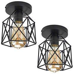 ZHMA Semi Flush Mount Ceiling Light Fixture for Farmhouse Kitchen, Hallway, Porch etc,Black Rust ...