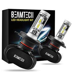 BEAMTECH H4 LED Headlight Bulb, 50W 6500K 8000Lumens Extremely Brigh (9003 Hi/Lo) CSP Chips Conv ...