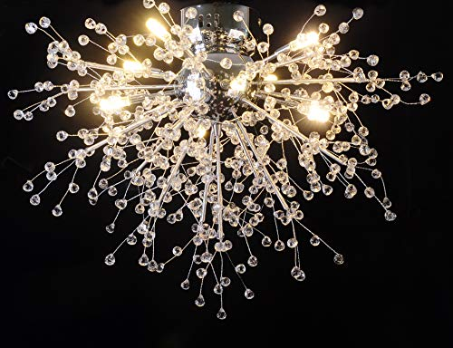 GDNS Chandeliers Hand Made Firework LED Light Stainless Steel Crystal Pendant Lighting Ceiling L ...