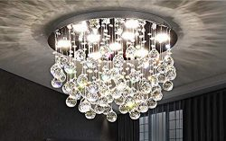 Saint Mossi Modern K9 Crystal Chandelier Lighting Flush Mount LED Ceiling Light Fixture Pendant  ...
