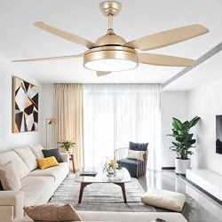 Tropicalfan Ceiling Fan Chandelier with LED Light and 5 Blades Champagne Remote Control for Home ...