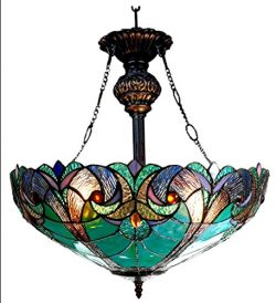 Chloe Lighting CH18780VG18-UH2 Liaison Tiffany-Style Victorian 2-Light Inverted Ceiling Pendant  ...