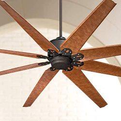 72″ Predator Outdoor Ceiling Fan with Remote Control Large English Bronze Cherry Damp Rate ...