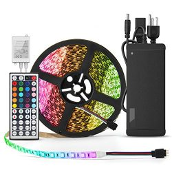 BINZET LED Strip Light – 32.8ft 5050 RGB 300LEDs [Multi Colored Include White] Color Chang ...