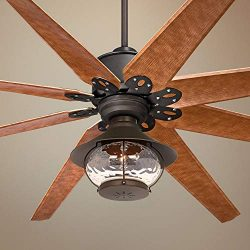 72″ Predator English Bronze Lantern Outdoor LED Ceiling Fan – Casa Vieja