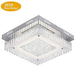Crystal Close to Ceiling Light Fixtures Morden LED Flush Mount Lighting 14.2-Inch Dimmable Squar ...