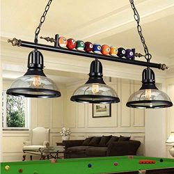 iMeshbean Hanging Pool Table Lights Fixture for 7′ – 8 ' Table,Black Metal Bal ...
