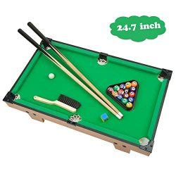 Portzon Mini Pool Table, Premium Tabletop Billiards Mini Snooker Game Set – Balls, Cues, a ...