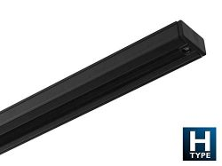 NICOR Lighting 6 Ft. Black Track Lighting Rail Section, H-Type [3-Wire] (10006BK)