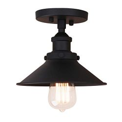 Pathson Vintage Ceiling Light with Semi-Flush Mounted Metal Shade Ceiling Lamp Fixtures for Hall ...